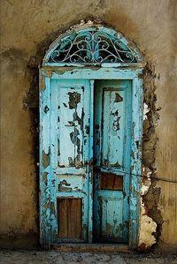 Turquoise chip door
